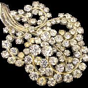 Big Art Deco Crystal Rhinestone Pin Brooch