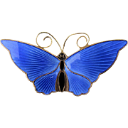 David Andersen Norway Guilloche Enamel Butterfly Pin Sterling Silver