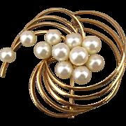 Mikimoto Akoya Pearl 14K Gold Pin Brooch 11 Pearls