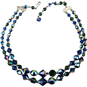 Vintage Aurora Borealis Crystal Necklace - 2 Strands of Sparkle