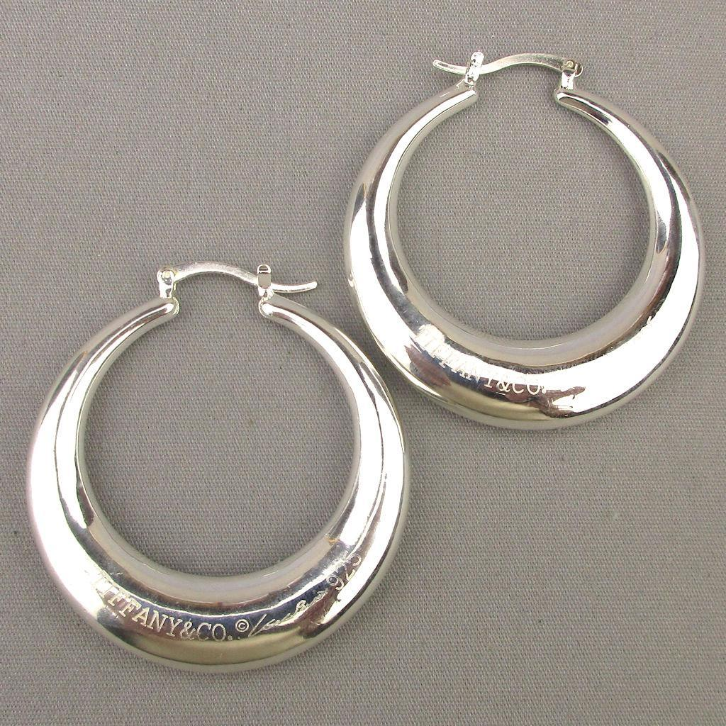 Large Tiffany Co 925 Elsa Peretti Signature Hoop Earrings