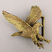 Vintage Leoma Lovegrove EAGLE Solid Brass Belt Buckle 1979