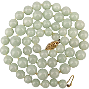 Vintage Pale Jade Bead Necklace 14K Gold Clasp