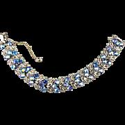 Signed STAR Blue Aurora Borealis Rhinestone Bracelet c1940s