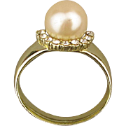 Signed Vintage AJC Big Faux Pearl Ring Pin Brooch