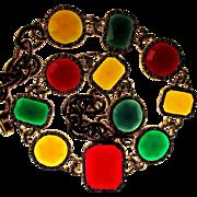 Vintage Bold Jewel-Tone Lucite Stone Necklace