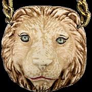 Big Porcelain Lion Head Pendant Necklace Detailed Bisque Cat