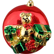 Signed AJC Christmas Ornament Pin Brooch Teddy Bear w/ Gifts
