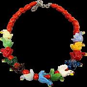 Vintage Italian Glass Figural Birds Necklace Multi-Color Bird Beads