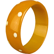 Old Bakelite Bangle Bracelet w/ Painted Dots