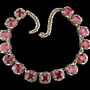 Unique 1930s Art Deco Pink Crystal Filigree Necklace