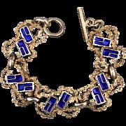 Sterling Silver Enamel Modernist Brutalist Link Bracelet