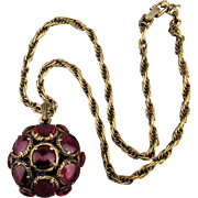 Trifari Alfred Philippe Mock Ruby Poured Glass Pendant Necklace Renaissance Collection 1964