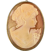 Vintage Sterling Silver Carved Cameo Shell Pin Pendant Pretty Gal