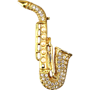 Signed Vintage Rhinestone Saxophone Sax Pin Brooch