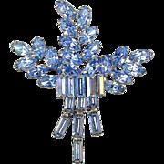 Vintage WEISS Blue Rhinestone Pin Brooch