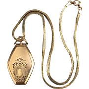 Victorian 10K Gold-Filled Photo Locket on GF Box Chain Necklace