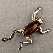 Sterling Silver Baltic Amber Jelly Belly Frog Pin Brooch