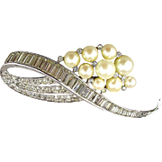 Vintage 1940s Panetta Pin Brooch Faux Diamonds - Pearls