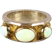Gorgeous 3 Opal Ring Wide Sterling Silver Gilt Band