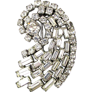 Vintage Signed KRAMER Rhinestone Comet Dress Clip Pin