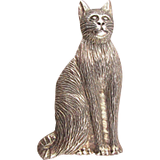 Vintage Sterling Silver CAT Pin Brooch - Great Face - Super Detail