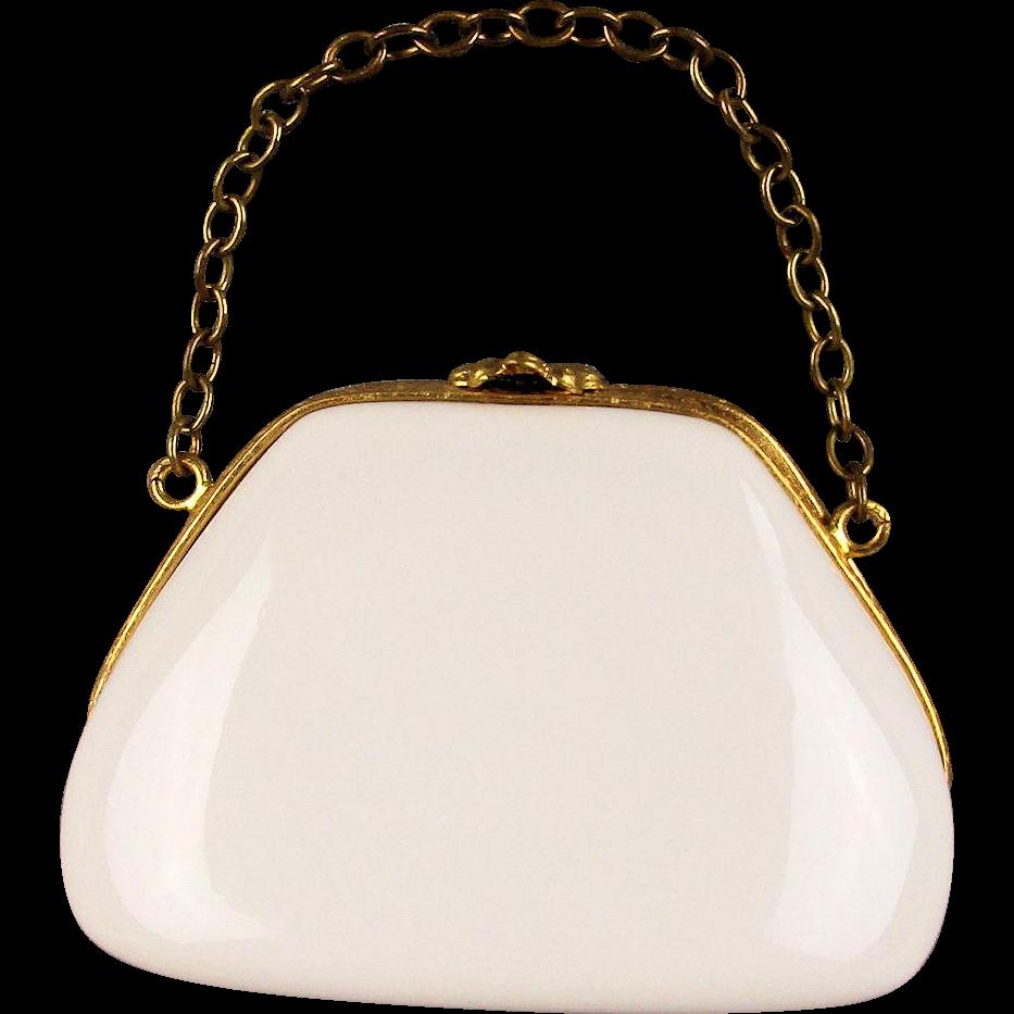 Vintage Limoges Miniature Purse Handbag Trinket Box Porcelain