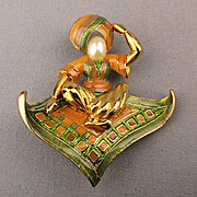Vintage Joan Rivers Enamel Aladdin Genie Magic Carpet Pin Brooch