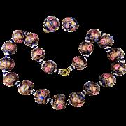 Old 1950s Venetian Art Glass Wedding Cake Necklace w/ Earrings