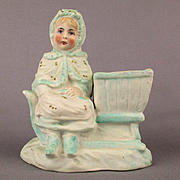 Old German Bisque Match Toothpick Holder Sweet Girl