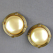 Vintage Yves Saint Laurent Faux Pearl Clip Earrings YSL