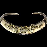 Designer Signed Sterling Silver 18K Gold Torc Necklace Torque Band