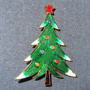 Vintage Signed ART Christmas Tree Pin Enamel w/ Rhinestones