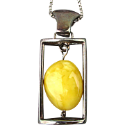 Sterling Silver Egg Yolk Amber Pendant Necklace Egg Drop Dangle