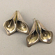 Mexican 925 Sterling Silver Duo Calla Lily Earrings