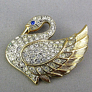 Vintage Park Lane Rhinestone Swan Pin Brooch