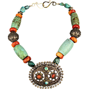 Big Old Ethnic Necklace - Silver Turquoise Coral Beads