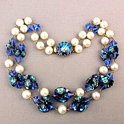 Gorgeous Blue Green Crystal - Faux Pearl Necklace