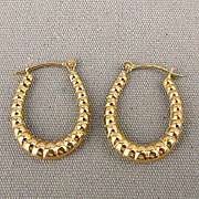 Estate 14K Yellow Gold Hoop Earrings w/ Twist