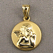 Vintage 14k Yellow Gold Guardian Angel Charm Pendant