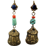 Old Chinese Amulet Dangle Earrings 900 Silver Turquoise Coral Lapis