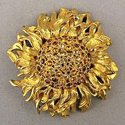 Huge Vintage Monet Rhinestone Sunflower Pin Figural Brooch