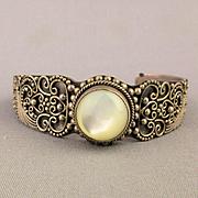 Vintage Sterling Silver Bali Cuff Bracelet w/ Ornate Overlay - Moonstone