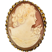 Art Deco Era Cameo Girl Carved Shell Pin Brooch 10K Gold-Filled