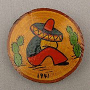 1941 Sleeping Mexican Hand-Painted Wood Pin