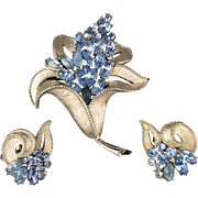 Divine Crown Trifari Rhinestone Flower Pin Earring Set