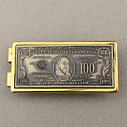 1962 Anson ~ $100 Bill ~ Money Clip 22K GP Ben Franklin