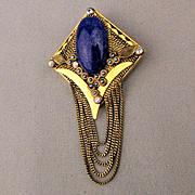 Marena W. Germany Handmade Pin Pendant 18K GP Lapis w/ Crystals
