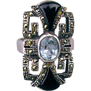 Vintage Art Deco Style Ring - Sterling Silver Marcasite Blue Topaz Black Onyx
