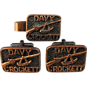 1950s Davy Crockett Copper Clad Cufflink Tie Clasp Set Cufflinks